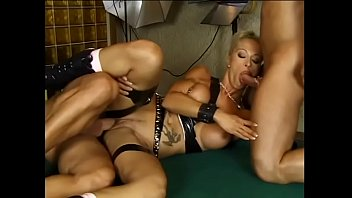 Two Muscular Stallions Hard Fuck A Tattooed Blonde On A Pool Table