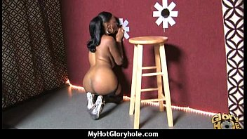 Natural cute black teen tries out gloryhole 18