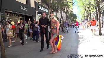 Naked body painted blonde in public 5 min