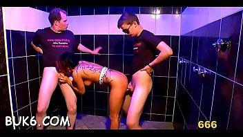 Lusty men are spraying their urine on babe's hawt body