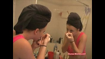 Asian bridel makeup Hot chick putting on her makeup
