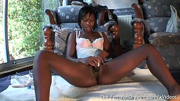 Hot African Babe Masturbates to Strong Orgasm Contractions and Spasms
