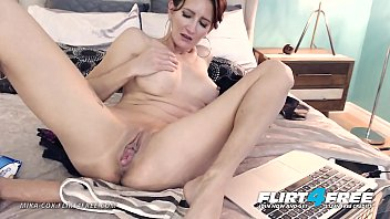 Mika Cox - Flirt4Free - Sexy Cougar Babe w Big Tits Makes Her Pussy Squirt