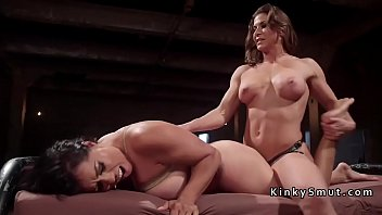Muscle boy bondage bdsm Lesbian slave rough anal fucked with strap on