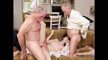 Hot Teen Alex Harper Gets Spit Roasted By Old Men