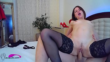 Horny Girl in Stockings Facefuck and Ass Fuck - Camgirl