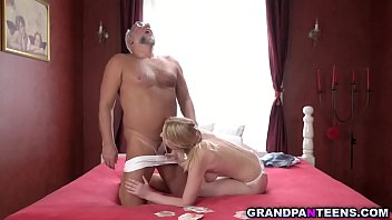 Amaris and grandpa Albert are playing card game with a twist.They have to strip clothes if someone loses and this game ended up with a hot fuck.