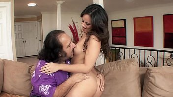Legendary porn star Ron Jeremy gets to fuck a juicy young brunette Lynn Love indoors