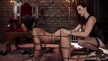 Slave spanked in doggy device bondage
