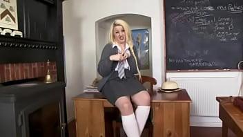 Sock sluts - Slutty chubby blonde in school uniform, white knee socks shear nix
