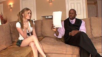 Black stepdad bribed by cute blonde daughter