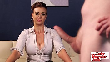Lingerie Babe Watches As Loser Jerks Off
