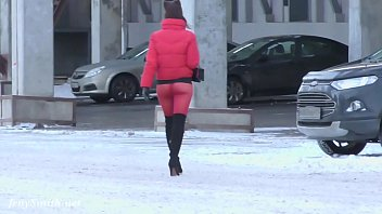 Red Tights. Jeny Smith public walking in tight seamless red pantyhose (no panties)