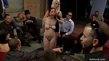 Blindfolded slut anal fucked in public