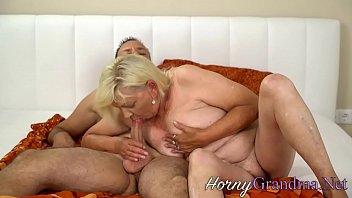 Busty cock sucking granny takes facial