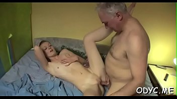 Sleder sweetheart takes a hardcore fuck from behind by an old guy