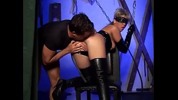 Black leather knee boots sexy - Masked bitch in leather slammed by horny man