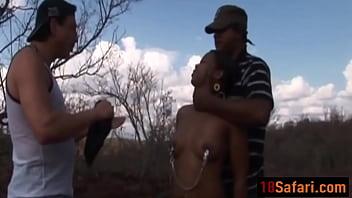 Pair of stiff cocks for African teen outdoorsdit-ass-45