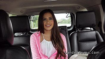 Cute Latina teen bangs in leather back seat_in_public