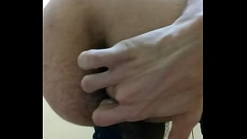 Horny moaning with finger in virgin ass
