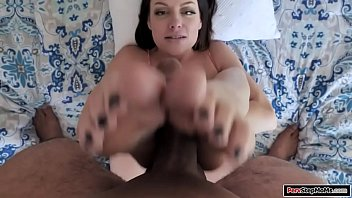 Milf toys her pussy as stepson fucks her