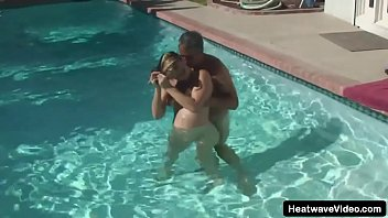 Mature pregnant wife is enjoying some dipping time in the pool and fuck with husband