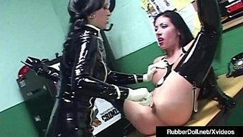 Fetish gloves rubber - Latex lesbian rubberdoll face fucks nadia nitro