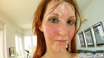 Girlget completly covered in cum - Cum for cover redheads drenched in cum after 5 cock deepthroat