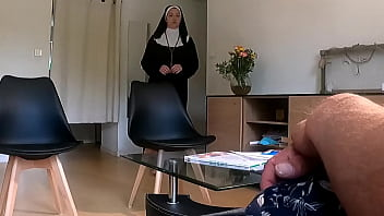 Pervert doctor poses a hidden camera in her waiting room ... he notices that she is not so good for a nun ... 6 min