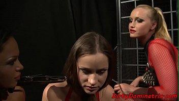 Gagged sub babe screwed by lezdom mistress
