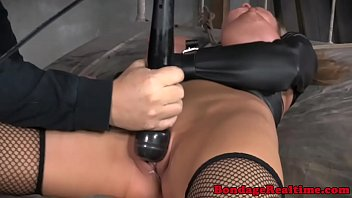 Bondage fetish Rain DeGrey tied to bed 6 min