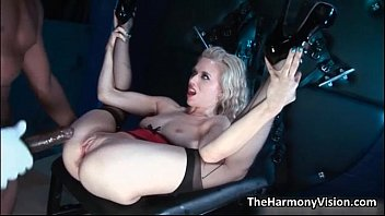 Dirty blonde whore gets her wet cunt