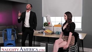 Naughty America - Big tit brunette Alyx Star fucks her boss to get that promotion thumbnail
