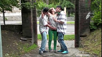 Street threesome with cute teen blonde girl Alexis Crystal and 2 young guys tumblr xxx video
