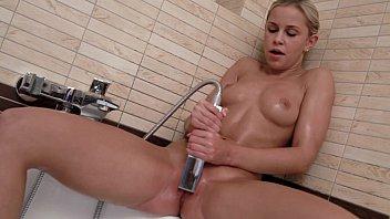Petite blonde Lolla having fun in her shower - Brand New Toy - wet masturbation