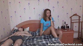Make Him Cuckold - Teeny Leighton makes teen porn her bf a cuckold 13 min