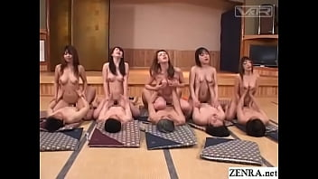 Japanese synchronized sex orgy in bathhouse banquet hall