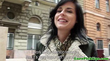 Amateur eurobabe picked up swallows cum