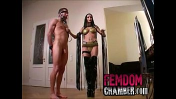 Strapon tgp captive male Dominatrix trains her male slave