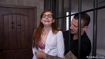 Redhead paralegal anal fucked in bondage