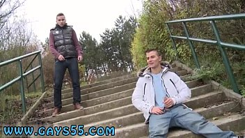 Giving oral sex to a male Two Sexy Amateur Studs Fucking In Public!