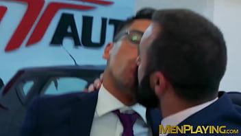 Elegant men bang each others asses after hard day at work