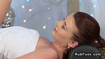 Huge tits redhead licked after massage