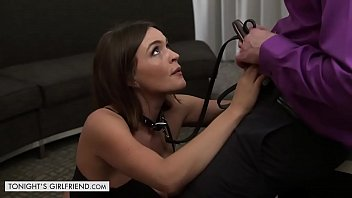 Cock strains at leash Sexy brunette krissy lynn lets her client take control