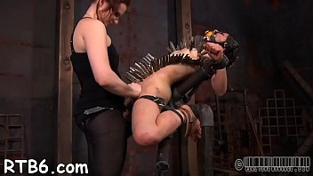 Tormenting babe's muff with toy