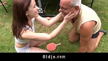 Pervert old dude pumps silly cute redhead backyard