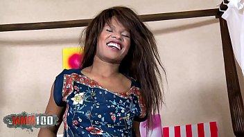 Pretty ebony Nirina Campbell doing a strip in the bedroom 5 min