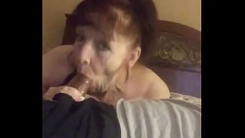 Grandma sucking young cock