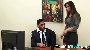 Fem boss catches guy wanking