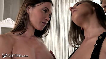 LEZ CUTIES - All Aboard! Super Hot Lingerie Models Try Out A 3-Way Dildo Train 12 min